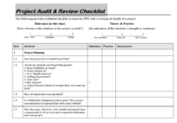 Project Audit & Review Checklist in editable format