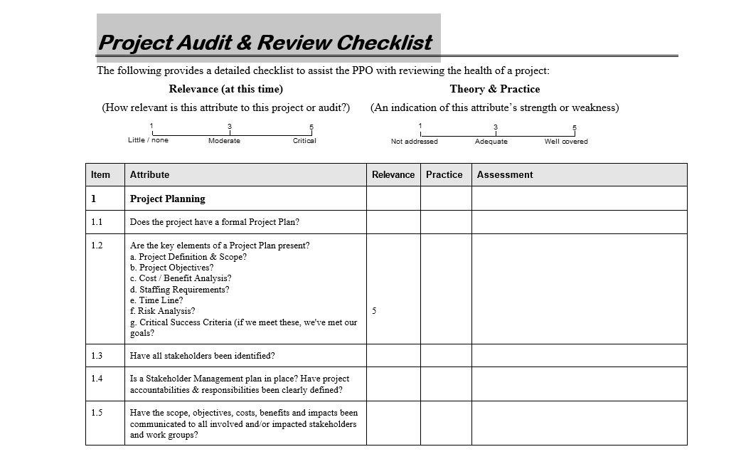 Download Project Audit & Review Checklist in editable format