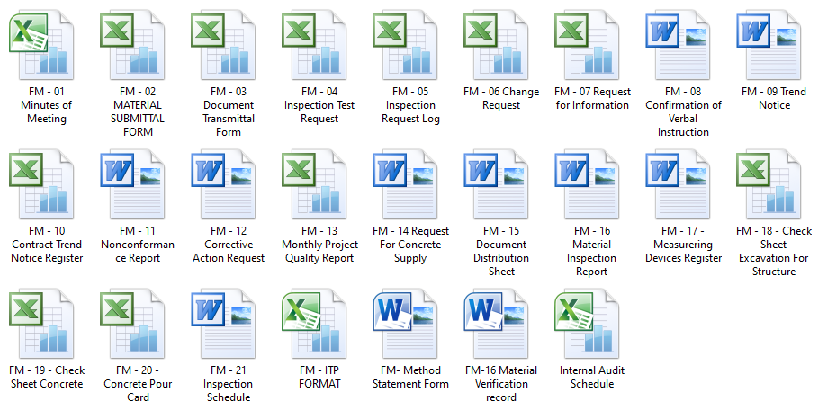 project quality plan attachments files and forms