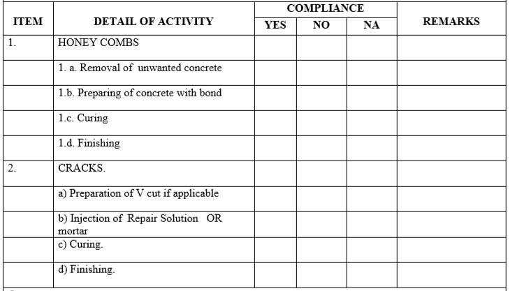 Inspection Form For Concrete Honey Combs & Cracks